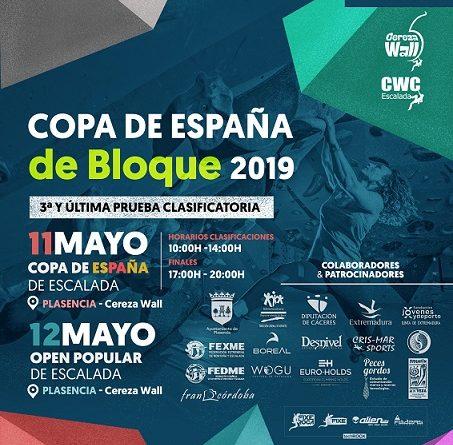 COPA DE ESPAÑA DE ESCALADA EN BLOQUE Y OPEN, 11 Y 12 de Mayo en Plasencia